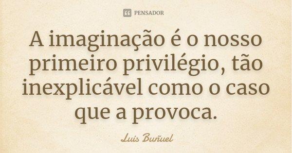 A imaginação é o nosso primeiro privilégio, tão inexplicável como o caso que a provoca.... Frase de Luis Buñuel.
