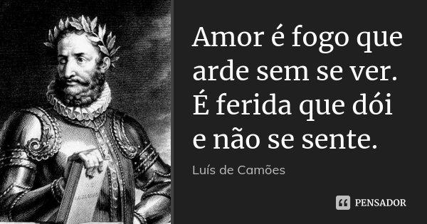 Amor é fogo que arde sem se ver. É ferida que dói e não se sente.... Frase de Luís de Camões.