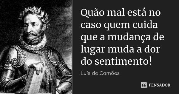 Quão mal está no caso quem cuida que a mudança de lugar muda a dor do sentimento!... Frase de Luís de Camões.