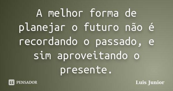 A melhor forma de planejar o futuro não é recordando o passado, e sim aproveitando o presente.... Frase de Luis Junior.