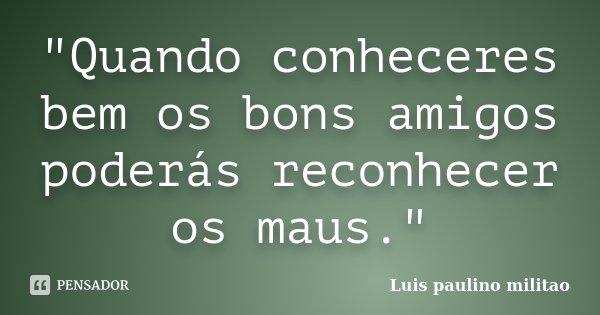 """""""Quando conheceres bem os bons amigos poderás reconhecer os maus.""""... Frase de Luís Paulino militao."""