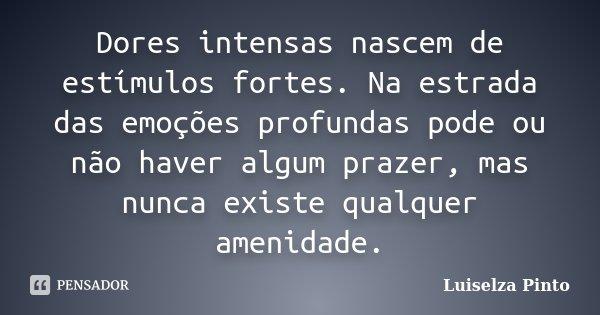 Dores intensas nascem de estímulos fortes. Na estrada das emoções profundas pode ou não haver algum prazer, mas nunca existe qualquer amenidade.... Frase de Luiselza Pinto.