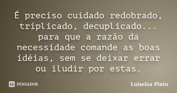 É preciso cuidado redobrado, triplicado, decuplicado... para que a razão da necessidade comande as boas idéias, sem se deixar errar ou iludir por estas.... Frase de Luiselza Pinto.
