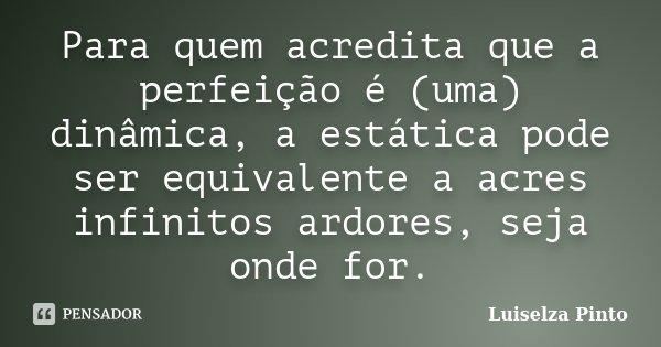 Para quem acredita que a perfeição é (uma) dinâmica, a estática pode ser equivalente a acres infinitos ardores, seja onde for.... Frase de Luiselza Pinto.