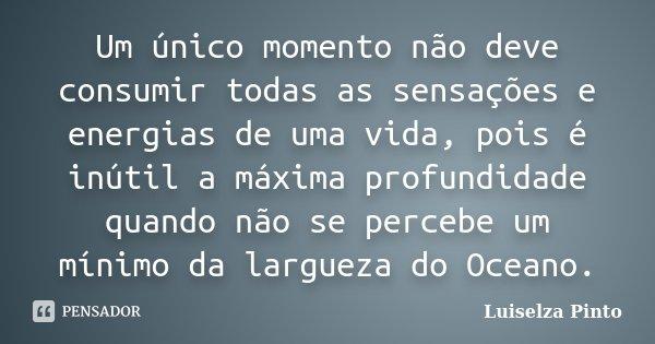 Um único momento não deve consumir todas as sensações e energias de uma vida, pois é inútil a máxima profundidade quando não se percebe um mínimo da largueza do... Frase de Luiselza Pinto.