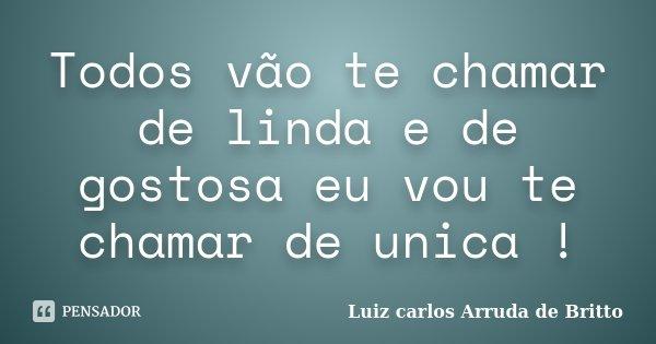 Todos vão te chamar de linda e de gostosa eu vou te chamar de unica !... Frase de Luiz carlos Arruda de Britto.