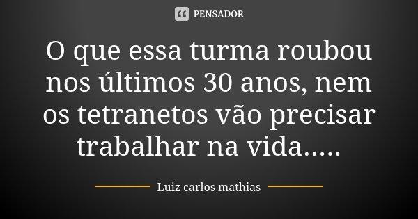 O que essa turma roubou nos últimos 30 anos, nem os tetranetos vão precisar trabalhar na vida........ Frase de Luiz Carlos Mathias.