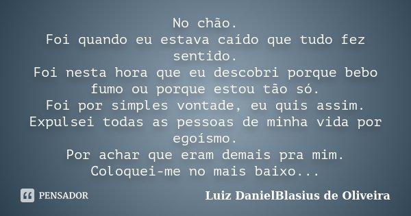 No chão. Foi quando eu estava caído que tudo fez sentido. Foi nesta hora que eu descobri porque bebo fumo ou porque estou tão só. Foi por simples vontade, eu qu... Frase de Luiz DanielBlasius de Oliveira.
