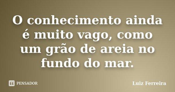 O conhecimento ainda é muito vago, como um grão de areia no fundo do mar.... Frase de Luiz Ferreira.