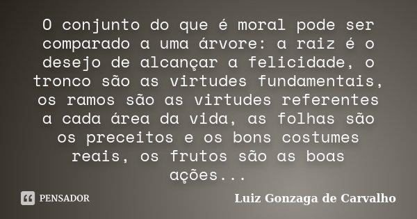 O conjunto do que é moral pode ser comparado a uma árvore: a raiz é o desejo de alcançar a felicidade, o tronco são as virtudes fundamentais, os ramos são as vi... Frase de Luiz Gonzaga de Carvalho.