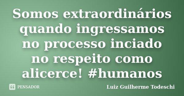 Somos extraordinários quando ingressamos no processo inciado no respeito como alicerce! #humanos... Frase de Luiz Guilherme Todeschi.