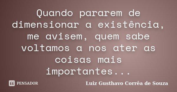 Quando pararem de dimensionar a existência, me avisem, quem sabe voltamos a nos ater as coisas mais importantes...... Frase de Luiz Gusthavo Corrêa de Souza.