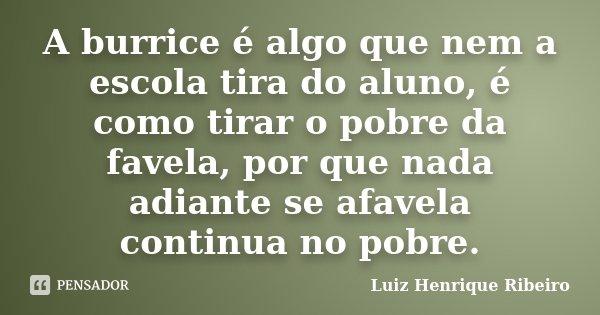 A burrice é algo que nem a escola tira do aluno, é como tirar o pobre da favela, por que nada adiante se afavela continua no pobre.... Frase de Luiz Henrique Ribeiro.