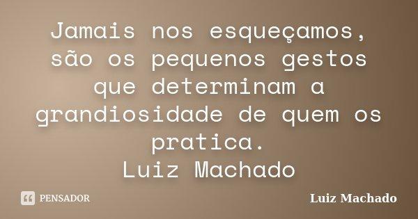 Jamais nos esqueçamos, são os pequenos gestos que determinam a grandiosidade de quem os pratica. Luiz Machado... Frase de Luiz Machado.