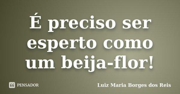 É preciso ser esperto como um beija-flor!... Frase de Luiz Maria Borges dos Reis.