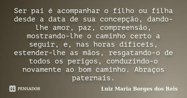 Ser Pai é Acompanhar O Filho Ou Filha Luiz Maria Borges Dos Reis