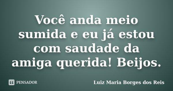 Você anda meio sumida e eu já estou com saudade da amiga querida! Beijos.... Frase de Luiz Maria Borges dos Reis.