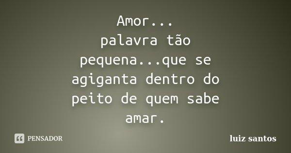 Amor... palavra tão pequena...que se agiganta dentro do peito de quem sabe amar.... Frase de Luiz Santos.