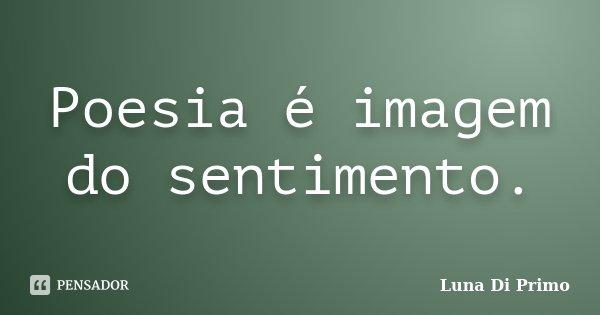 Poesia é imagem do sentimento.... Frase de Luna Di Primo.