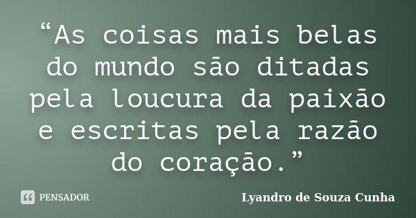 """""""As coisas mais belas do mundo são ditadas pela loucura da paixão e escritas pela razão do coração.""""... Frase de Lyandro de Souza Cunha."""