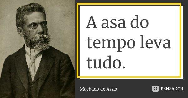 A asa do tempo leva tudo.... Frase de Machado de Assis.
