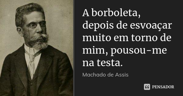 A borboleta, depois de esvoaçar muito em torno de mim, pousou-me na testa.... Frase de Machado de Assis.