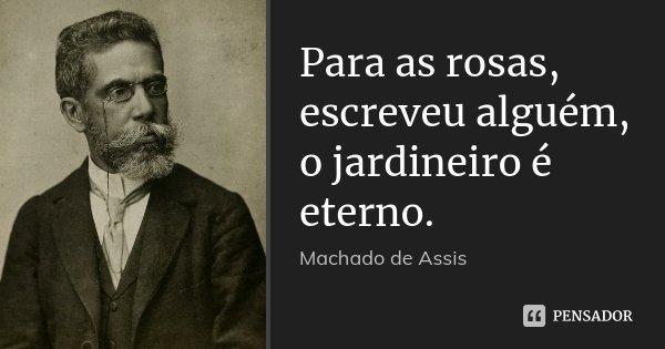 Para as rosas, escreveu alguém, o jardineiro é eterno.... Frase de Machado de Assis.