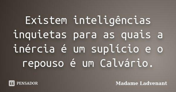 Existem inteligências inquietas para as quais a inércia é um suplício e o repouso é um Calvário.... Frase de Madame Ladvenant.