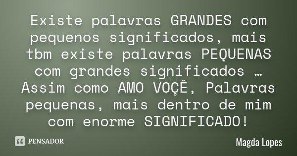 Existe palavras GRANDES com pequenos significados , mais tbm existe palavras PEQUENAS com grandes significados …Assim como AMO VOÇÊ , Palavras pequenas , mais d... Frase de Magda Lopes.