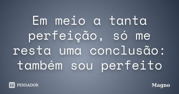 Em meio a tanta perfeição, só me resta uma conclusão: também sou perfeito... Frase de Magno.