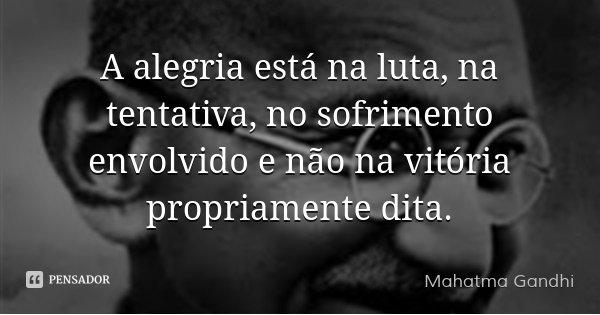 A alegria está na luta, na tentativa, no sofrimento envolvido e não na vitória propriamente dita.... Frase de Mahatma Gandhi.