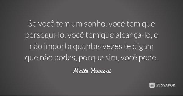 Se você tem um sonho, você tem que persegui-lo, você tem que alcança-lo, e não importa quantas vezes te digam que não podes, porque sim, você pode.... Frase de Maite Perroni.