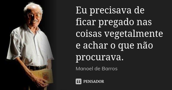 Eu precisava de ficar pregado nas coisas vegetalmente e achar o que não procurava.... Frase de Manoel de Barros.