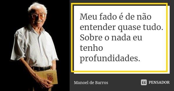 Meu fado é de não entender quase tudo. Sobre o nada eu tenho profundidades.... Frase de Manoel de Barros.