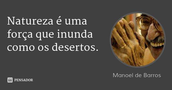 Natureza é uma força que inunda como os desertos.... Frase de Manoel de Barros.