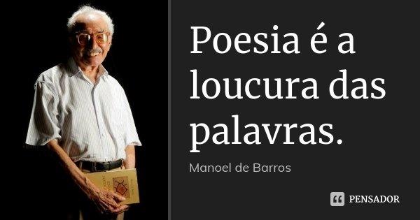 Poesia é a loucura das palavras.... Frase de Manoel de Barros.