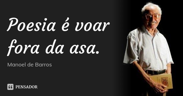 Poesia é voar fora da asa.... Frase de Manoel de Barros.