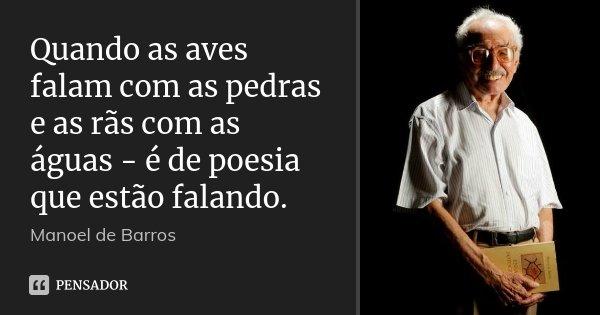 Quando as aves falam com as pedras e as rãs com as águas - é de poesia que estão falando.... Frase de Manoel de Barros.