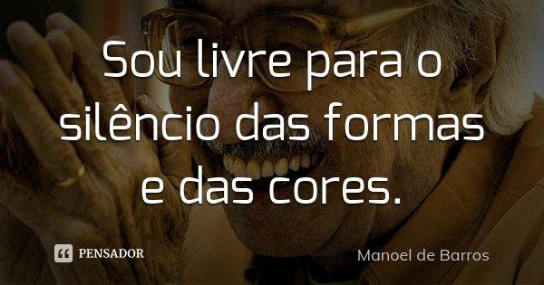 Sou livre para o silêncio das formas e das cores.... Frase de Manoel de Barros.