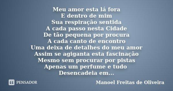 Meu amor esta lá fora E dentro de mim Sua respiração sentida A cada passo nesta Cidade De tão pequena por procura A cada canto de encontro Uma deixa de detalhes... Frase de Manoel Freitas de Oliveira.