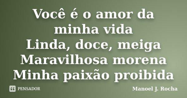 Você é o amor da minha vida Linda, doce, meiga Maravilhosa morena Minha paixão proibida... Frase de Manoel J Rocha.