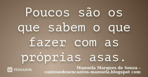Poucos são os que sabem o que fazer com as próprias asas.... Frase de Manuela Marques de Souza - cantosedesencantos-manuela.blogspot com.