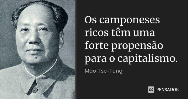 Os camponeses ricos têm uma forte propensão para o capitalismo.... Frase de Mao Tse-Tung.