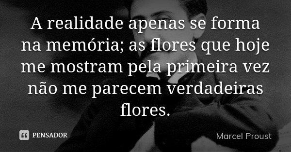 A realidade apenas se forma na memória; as flores que hoje me mostram pela primeira vez não me parecem verdadeiras flores.... Frase de Marcel Proust.