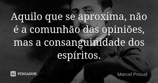Aquilo que se aproxima, não é a comunhão das opiniões, mas a consanguinidade dos espíritos.... Frase de Marcel Proust.
