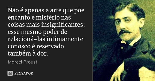 Não é apenas a arte que põe encanto e mistério nas coisas mais insignificantes; esse mesmo poder de relacioná-las intimamente conosco é reservado também à dor.... Frase de Marcel Proust.