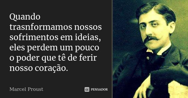 Quando trasnformamos nossos sofrimentos em ideias, eles perdem um pouco o poder que tê de ferir nosso coração.... Frase de Marcel Proust.