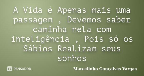 A Vida é Apenas mais uma passagem , Devemos saber caminha nela com inteligência , Pois só os Sábios Realizam seus sonhos... Frase de Marcelinho Gonçalves Vargas.