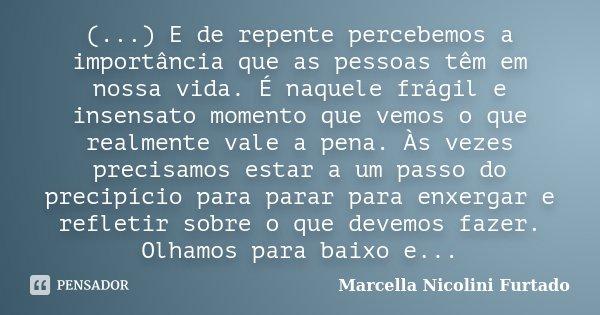 (...) E de repente percebemos a importância que as pessoas têm em nossa vida. É naquele frágil e insensato momento que vemos o que realmente vale a pena. Às vez... Frase de Marcella Nicolini Furtado.