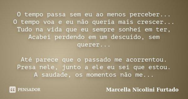 O tempo passa sem eu ao menos perceber... O tempo voa e eu não queria mais crescer... Tudo na vida que eu sempre sonhei em ter, Acabei perdendo em um descuido, ... Frase de Marcella Nicolini Furtado.